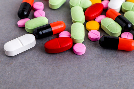 Medical equipments including drug medicines background, top view flat lay