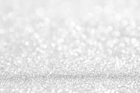 abstract background white Silver lights on christmas bokeh Stock Photo