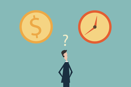 Businessman confused in choosing between time or money. Symbol of business success, challenge, risk, courage.Minimalist flat design