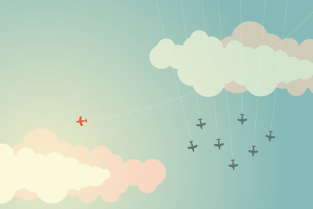 Minimalist style red airplane changing direction and ones. New idea, change, trend, courage, creative solution,business, innovation and unique way concept Illustration