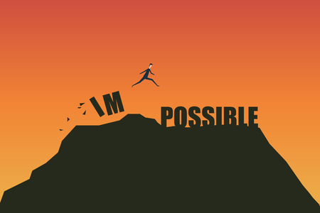 Minimalist retro style. Impossible Is Possible Concept Illustration