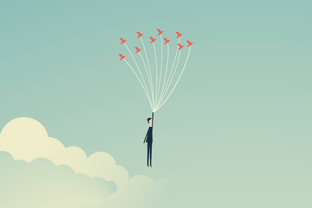 Minimalist stile. vector business finance. Freedom concept. Business person flying up with birds. Emotion of freedom and happiness, above risk and danger, the businessman balances Symbol leadership, strategy, mission, objectives Illustration