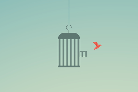 Minimalist stile. vector business finance. Flying bird and cage Freedom concept. Emotion of freedom and happiness Stock fotó - 125151580