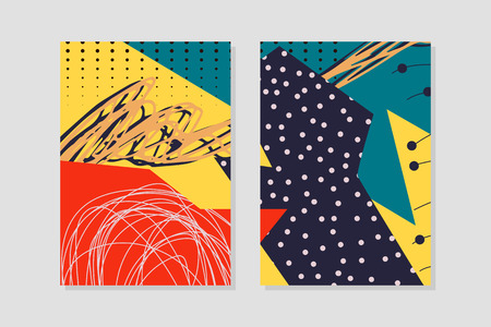 abstract background creative universal geometric cards doodle art header with different shapes and textures