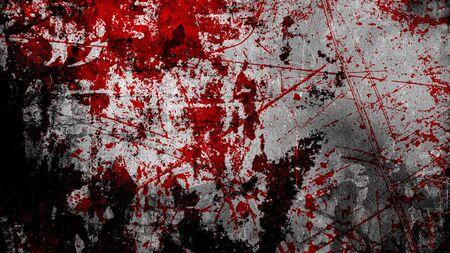 grunge halloween background with blood splash space on wall