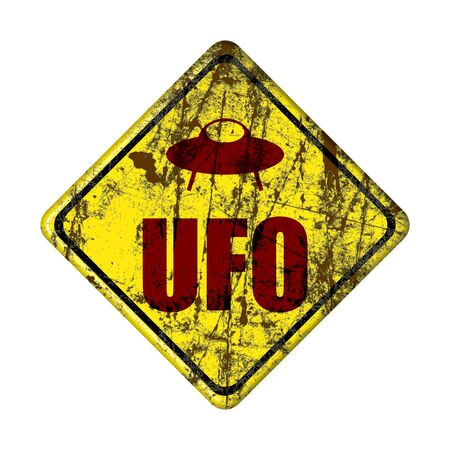 old Humorous danger road signs for UFO, aliens abduction theme, Yellow road sign with Ufo Activity Area.