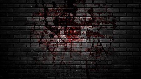 grunge halloween background with blood splash space