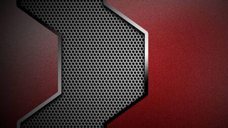 3d illustration. material design. red and black carbon fiber and chromium frame. metal background.