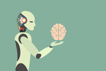 Human brain. Robot holding human brain. robotic  Automation technology Concept . Vector illustration flat design