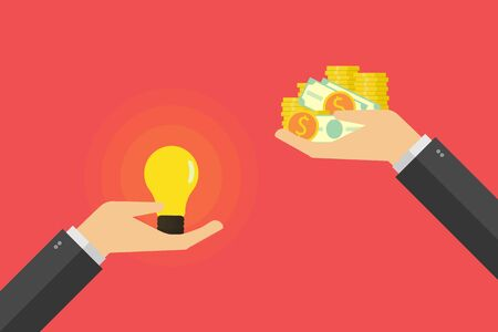 business finance Idea trading for money concept, hand holding light bulb and other hand offers money . Vector illustration flat design 일러스트