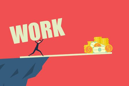 business finance concept,Difficult work to make money and achieve success . Vector illustration flat design Иллюстрация