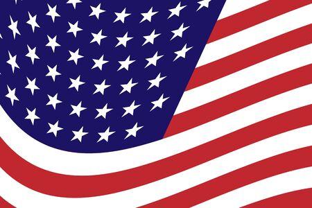 Flagge der Vereinigten Staaten Besteht aus Weiß, Rot, Blau und Sternen. Vektor-Illustration der USA-Flagge