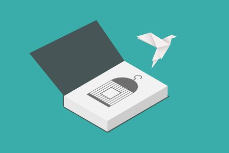 freedom concept and international day of peace. paper bird flying out of a book. vector illustration, flat design