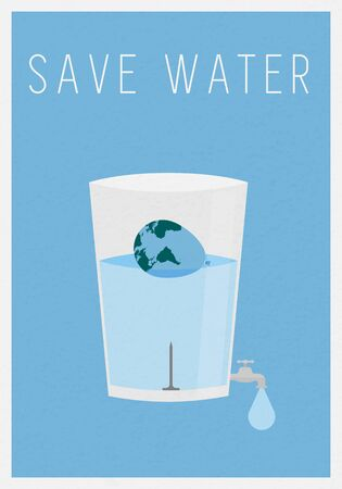 Water saving concept Economical use of water . vector flat design Illusztráció