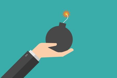 hand holding ball bomb . Bomb ready to explosion. vector illustration flat design