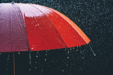 drop rain and umbrella on black background