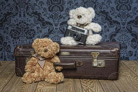 Plush teddy bears on holiday leave Reklamní fotografie