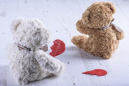 camaraderie: Teddy bears with a broken heart