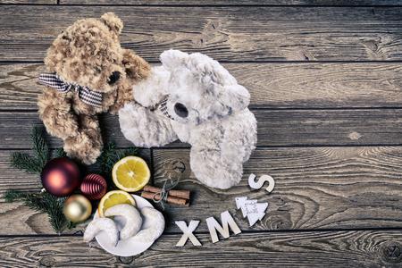 osos navide�os: tiempo de Navidad con los osos de peluche Foto de archivo