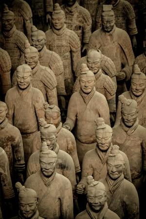Terracotta warriors, soldier sculptures group in Xian, China