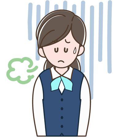 A woman in uniform is depressed. Ilustração