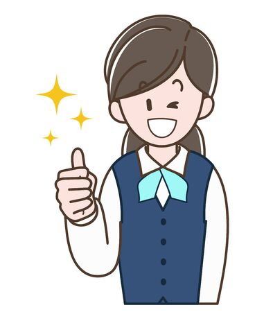 A woman in a uniform doing thumbs-up sign