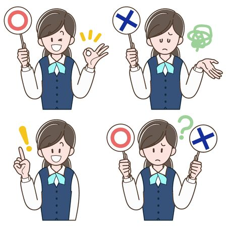 Woman in a uniform holding the correct or incorrect answers (Vector illustration set)