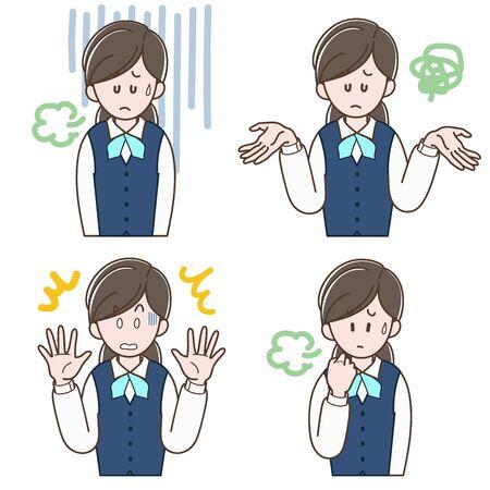 Woman in a uniform with negative expression (Vector illustration set) Ilustração
