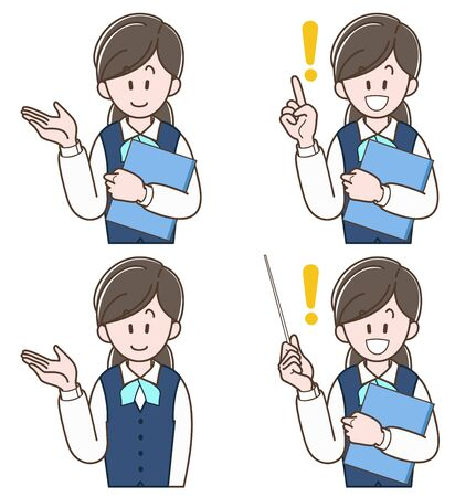 woman in a uniform holding a file (Vector illustration set)