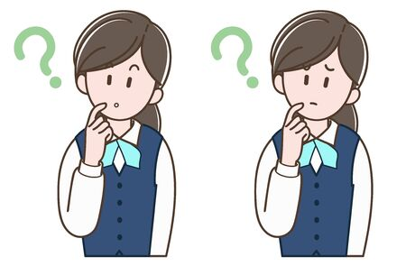 woman in a uniform worried (vector vector set)