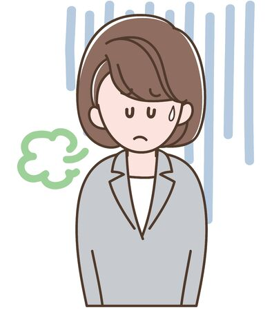 A woman in a gray suit is depressed  イラスト・ベクター素材