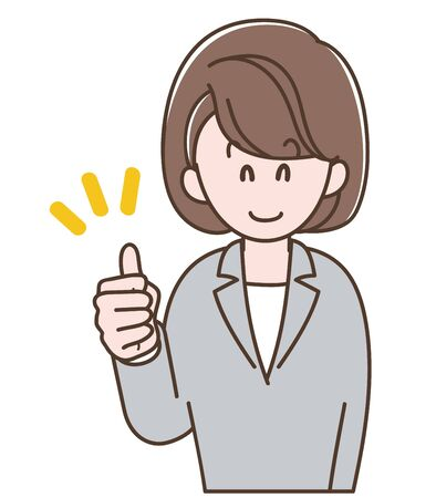 A woman in a gray suit doing thumbs-up sign