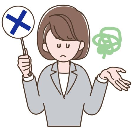 A woman in a gray suit holding the incorrect sign  イラスト・ベクター素材