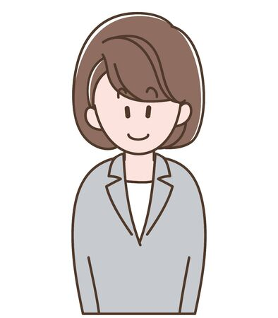 Illustration of the young woman in a gray suit