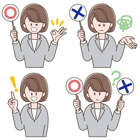 Woman in a gray suit holding the correct or incorrect answers_Vector illustration set