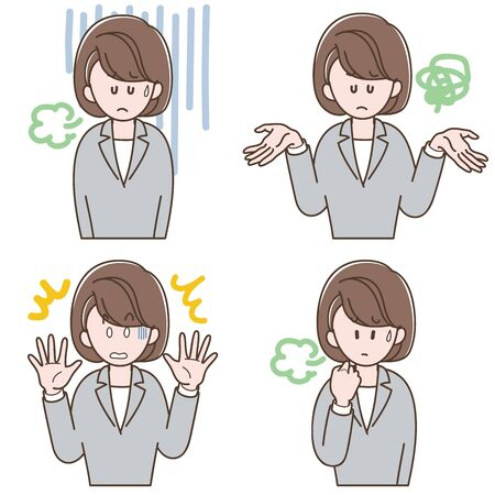 Woman in a gray suit with negative expression_Vector illustration set