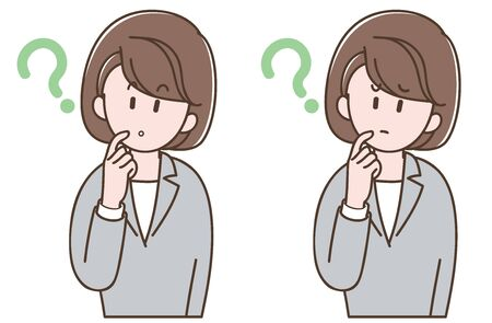 woman in a gray suit worried_Vector illustration set Vectores
