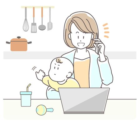 a woman who works from home while looking after her baby