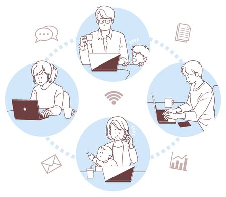 Illustration of the remote work. the people who are working from home