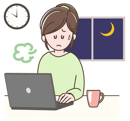Problems that often occur in telecommuting  -overwork-