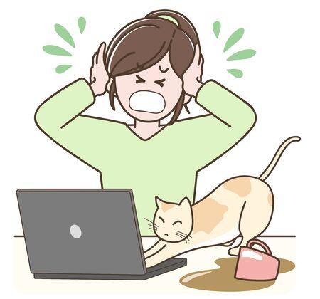 Problems that often occur in telecommuting  -a pet disturbs- Illusztráció