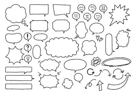 Illustration set of speech bubble material with handwritten (Monochrome crayon style) Vector Illustration