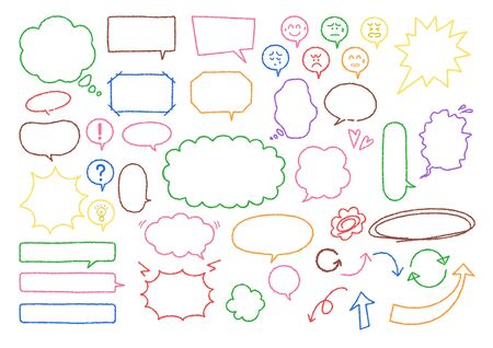 Illustration set of speech bubble material with handwritten (Colorful crayon style)