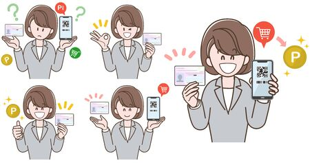 Woman in a Suit to Explain My Number Card (Vector Illustration Set)