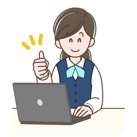 A woman in a uniform operating a PC while doing thumbs-up sign
