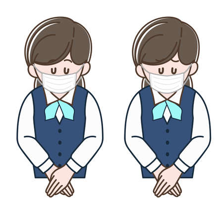 Woman in a uniform bowing with a surgical mask, Vector illustration set