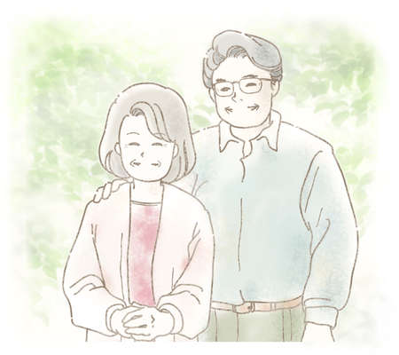 Illustration of an elderly couple smiling happily in the fresh green