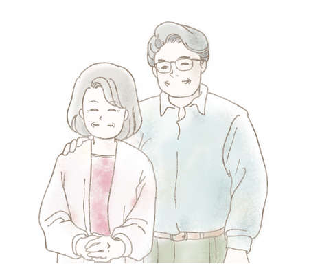 Illustration of an elderly couple smiling happily