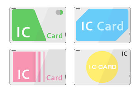 Illustration of various prepaid train card (Vector illustration set)