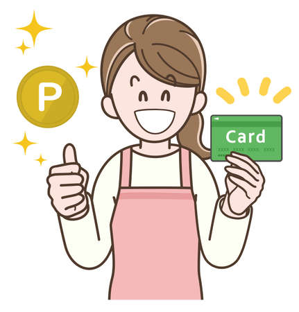 Illustration of a housewife who gets points with a card